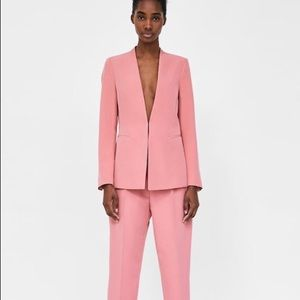 ZARA BLAZER WITHOUT LAPEL Pink S Small